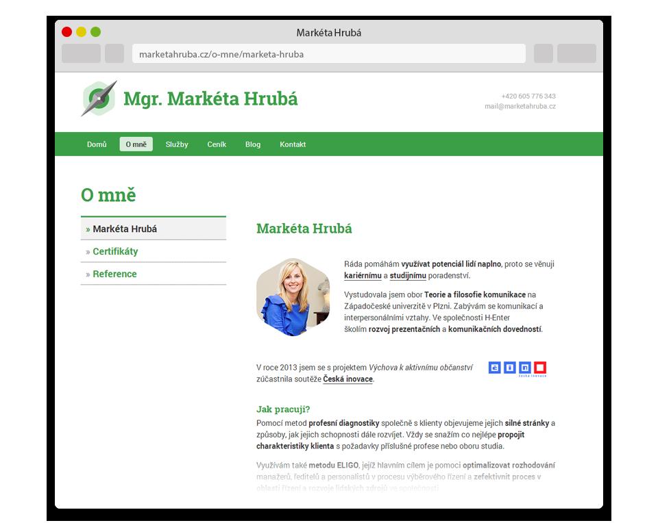 Webové stránky Markéta Hrubá