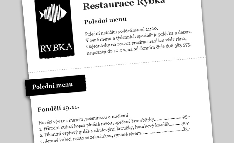 Restaurace Rybka newsletter